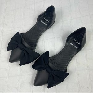 Beth Richards + Native black rubber pointed toe flats with large bow